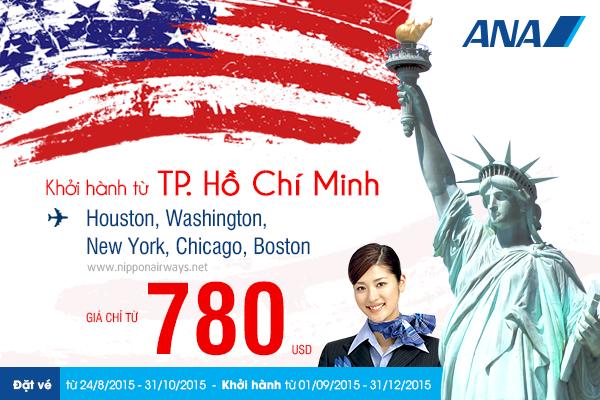 Cơ hội đặt vé máy bay đi Mỹ giá rẻ từ ANA