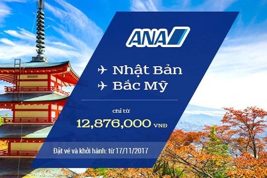Vi vu Nhật Bản , Bắc Mỹ cùng vé máy bay khuyến mãi ANA